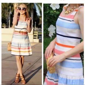 J. McLaughlin Striped Tiered Linen Blend Dress 4
